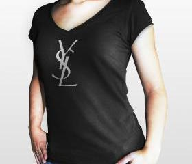 YSL Yves Saint Laurent Paris Women Black Gildan T-Shirt