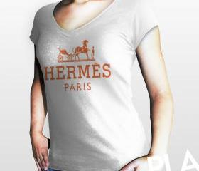 Hermes Paris Women White Gildan T-Shirt