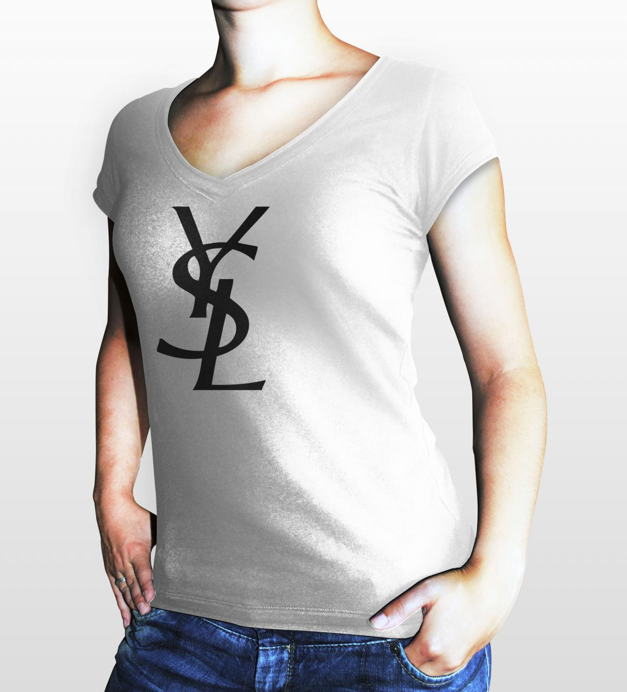 Ysl yves saint laurent paris women white gildan t shirt on for Saint laurent paris t shirt
