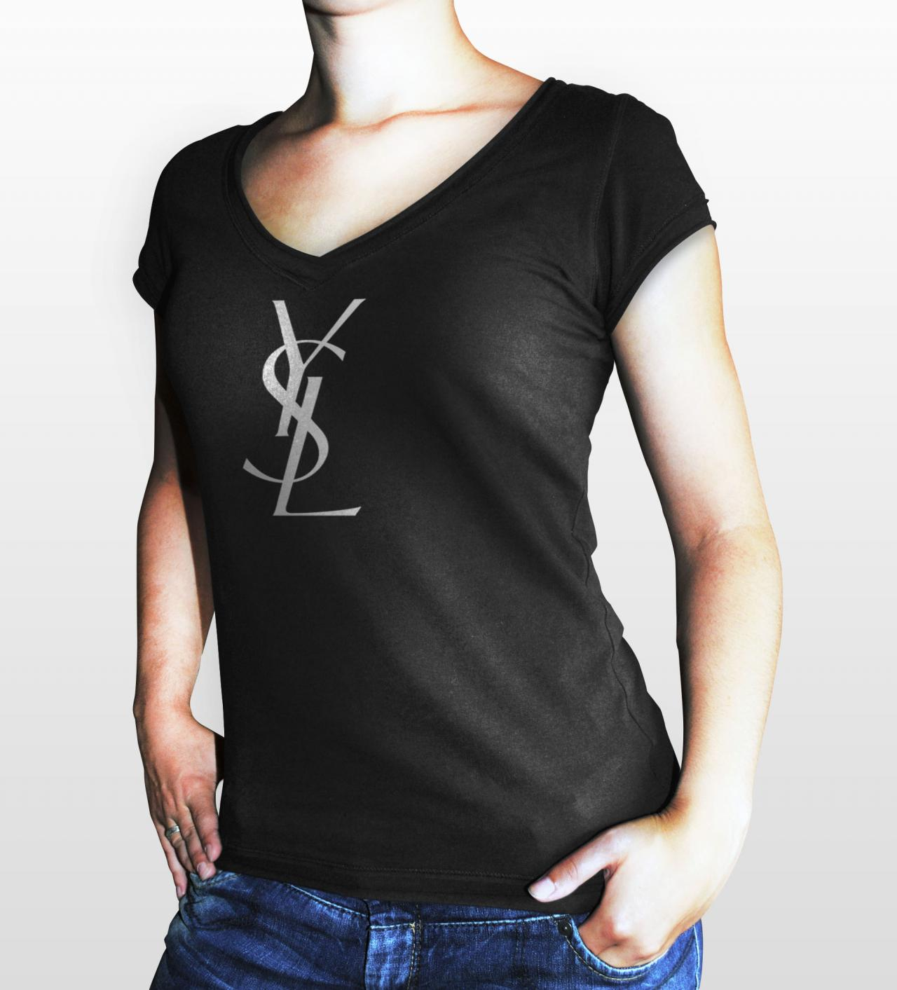 Ysl yves saint laurent paris women black gildan t shirt on for Saint laurent paris t shirt