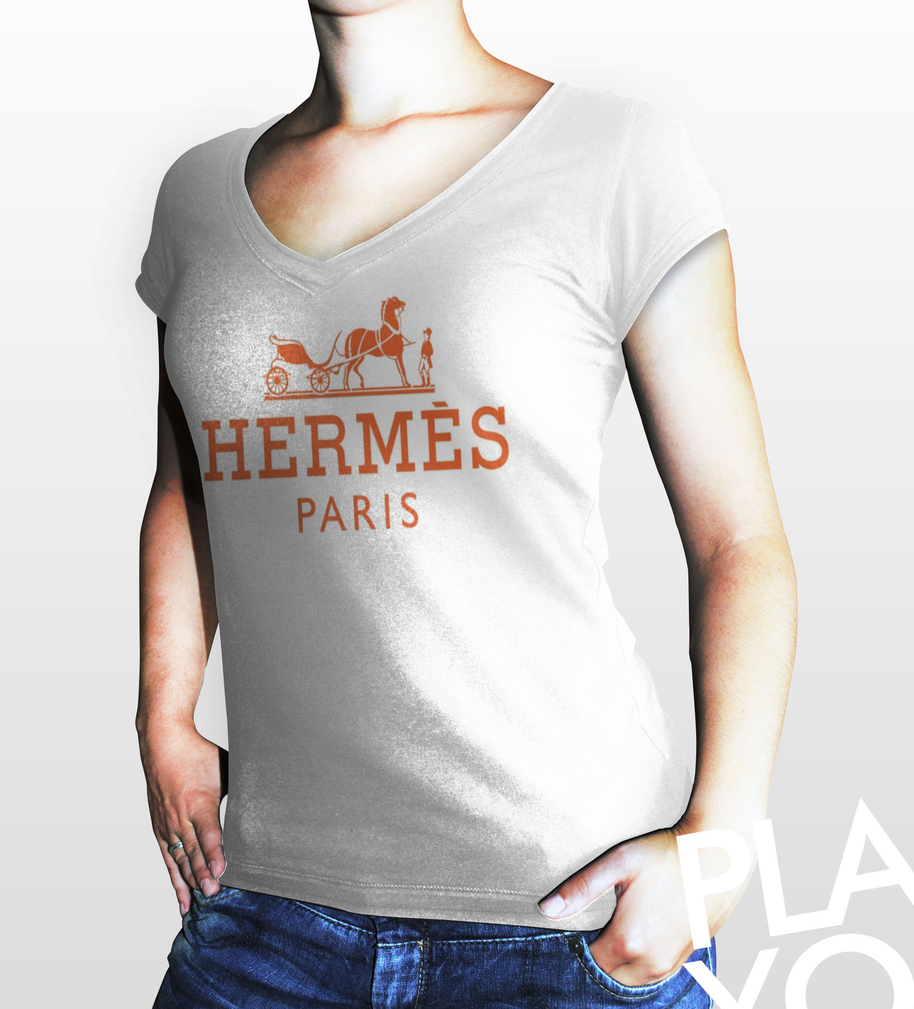 hermes paris women white gildan t shirt on luulla